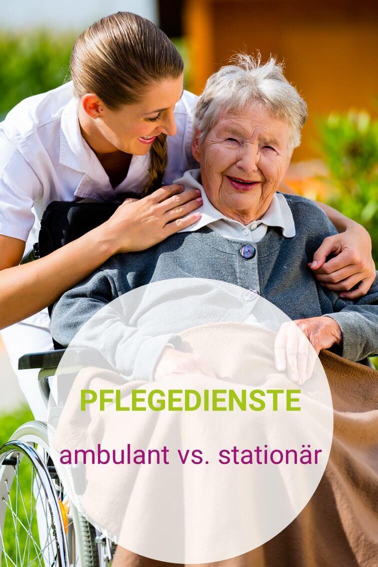 Pflegedienst-Mitarbeiterin umarmt Seniorin im Garten